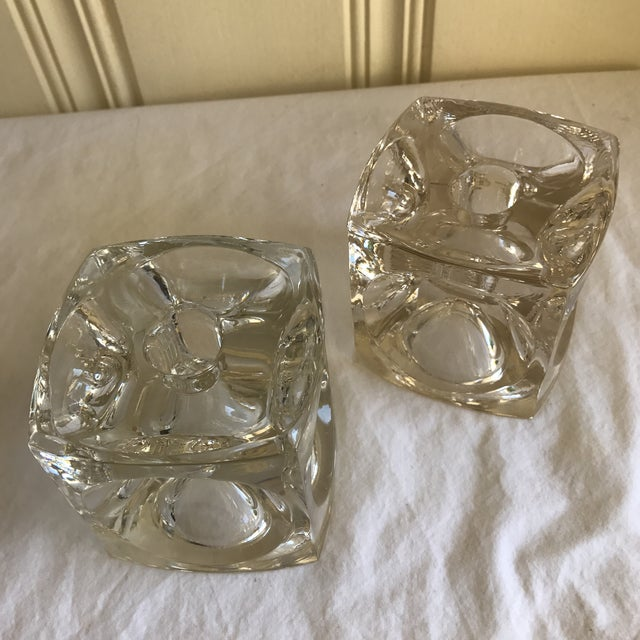 Contemporary Artisan Geometric Glass Candle Holders - A Pair For Sale - Image 3 of 11