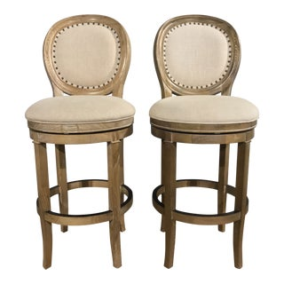 Modern French Inspired Distressed New Swivel Barstools - A Pair For Sale
