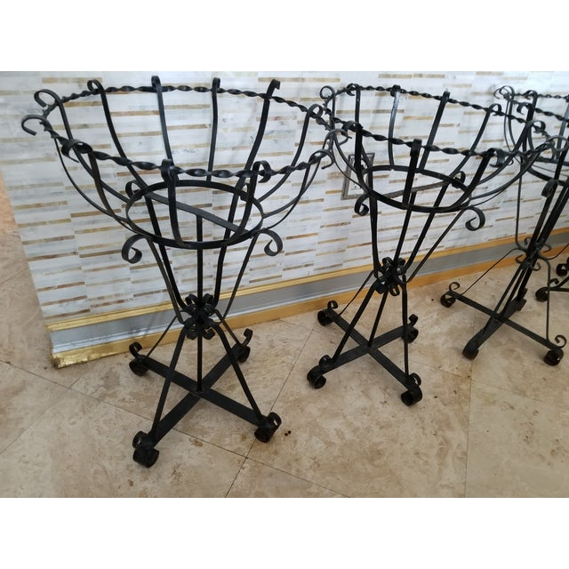 Mid-Century Wrought Iron Basket Planters - Set of 4 For Sale In Miami - Image 6 of 10