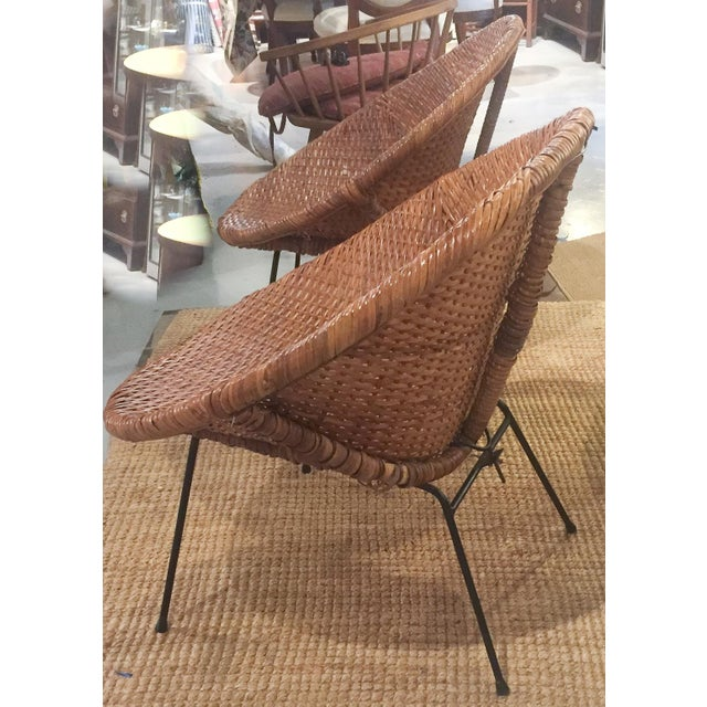 Mid-Century Rattan Wicker Hoop Chairs - Pair - Image 5 of 9