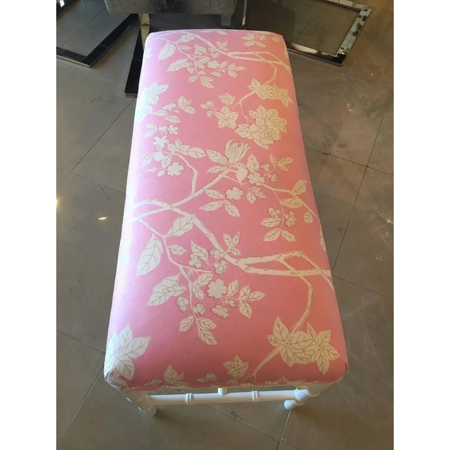 Faux Bamboo Chinese Chippendale Pink Lacquered Bench For Sale In West Palm - Image 6 of 10