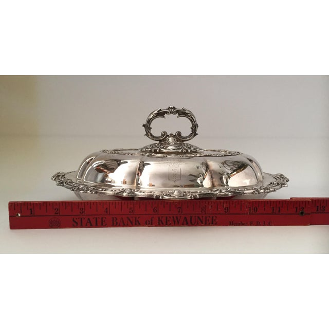 Antique Sheffield Silver Plate Scroll Borders & Armorial Crest Serving Dish With Cover For Sale - Image 10 of 12