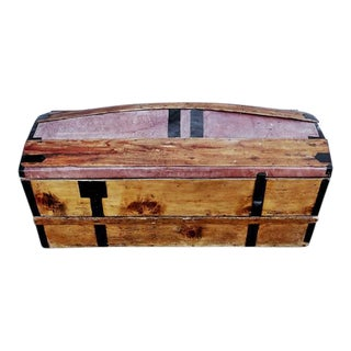 Solid French Storage Trunk With Leather Inserts For Sale