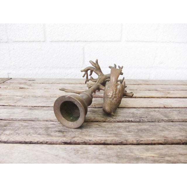 Early 21st Century Antique Bronze Bird on Branch Candle Holder For Sale - Image 5 of 9