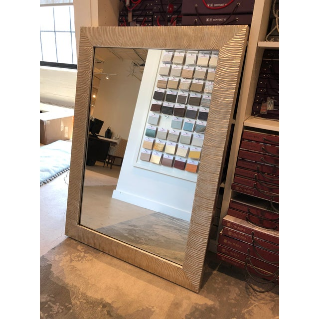 Boston showroom sample Magnolia mirror. Wood and clear mirror. Antique silver leaf finish