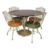 Image of 1960s Mid-Century Modern Russell Woodard Wrought Iron Dining Set - 5 Pieces For Sale