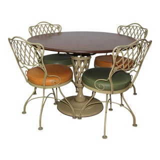 1960s Mid-Century Modern Russell Woodard Wrought Iron Dining Set - 5 Pieces For Sale