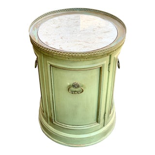 1950's Italian Drum Cabinet With Marble Top For Sale