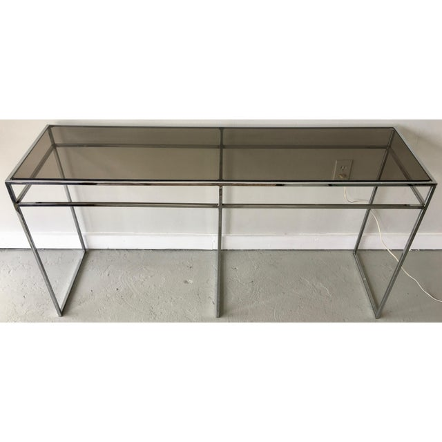 Milo Baughman Milo Baughman Chrome and Smoked Glass Console For Sale - Image 4 of 6