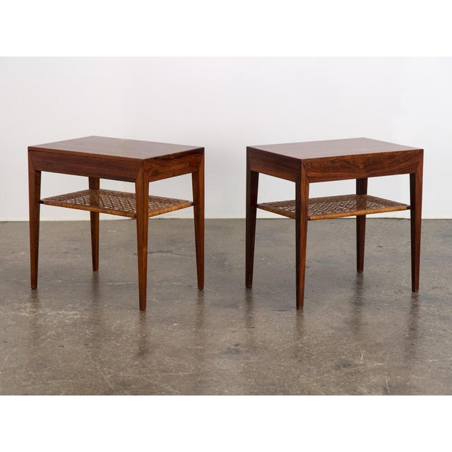 Sleek pair of side tables by accomplished Danish designer Severin Hansen. Minimalist in detail, they are characterized by...