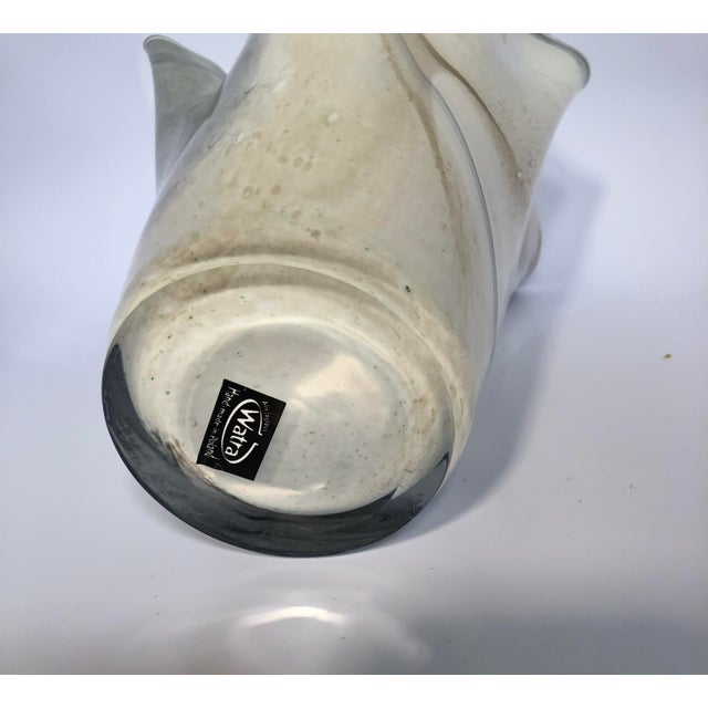 Hand-Blown Polish Glass Handkerchief Vase For Sale - Image 4 of 8