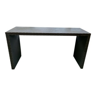 Glazed Linen-Wrapped Console For Sale