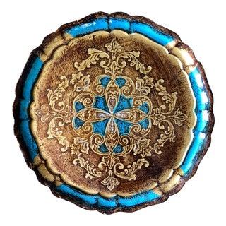 Vintage Blue Gold Florentine Tray For Sale