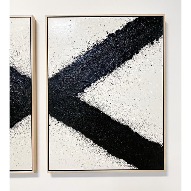 "Wood Exclusive John O'Hara ""Tar, X"" Encaustic Paintings (2-Panel) For Sale - Image 7 of 10"