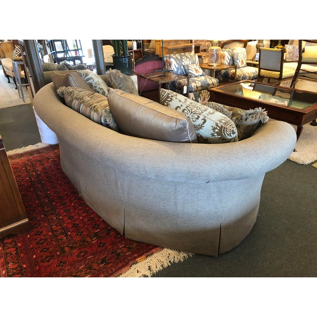 Fabric Custom Curved Sofa & Seven Decor Pillows - Set of 8 For Sale - Image 7 of 11