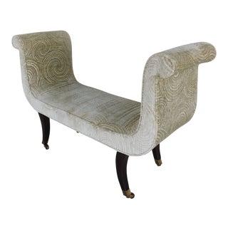 "Swaim Furniture Scrolled Arm Regency Style Bench 49""w For Sale"