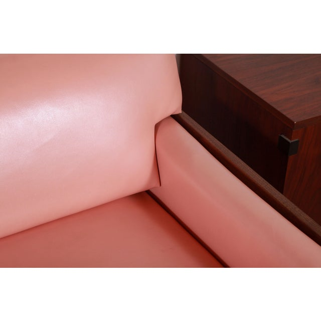 Mid Century Modern Adrian Pearsall for Craft Associates Pink Vinyl & Walnut Sofa For Sale - Image 10 of 13