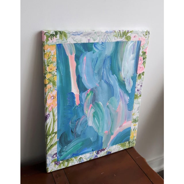 """Contemporary Frances Sousa """"Get Ready for the Flood"""" Contemporary Abstract Floral Acrylic Painting on Vintage Textile For Sale - Image 3 of 11"""
