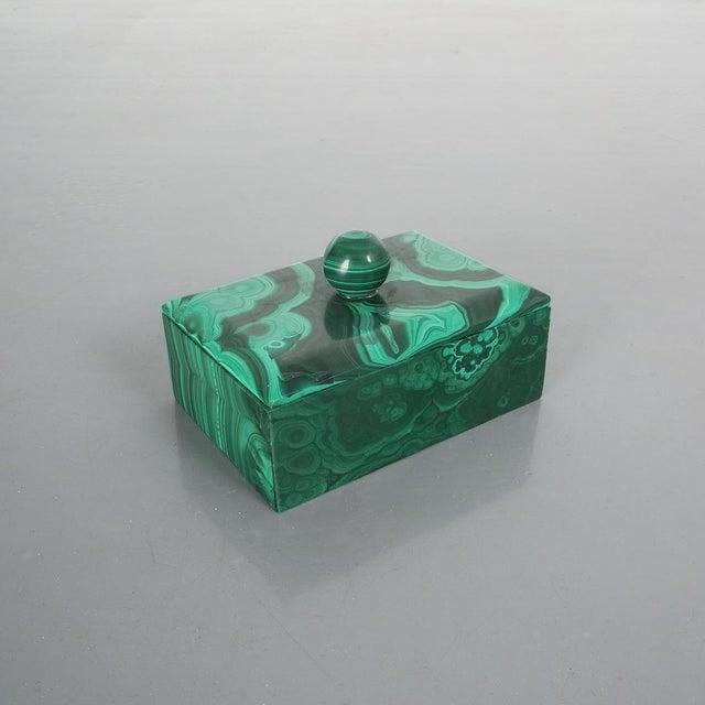 Gemstone Midcentury Malachite Stone Box, Belgium For Sale - Image 7 of 7