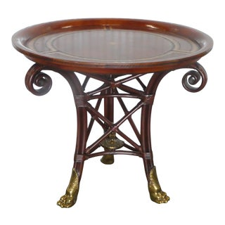 20th Century Neoclassical Maitland Smith Leather Top Center Table With Bronze Feet For Sale