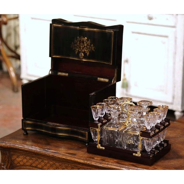 Metal 19th Century French Napoleon III Mahogany and Bronze Inlaid Liquor Box For Sale - Image 7 of 13