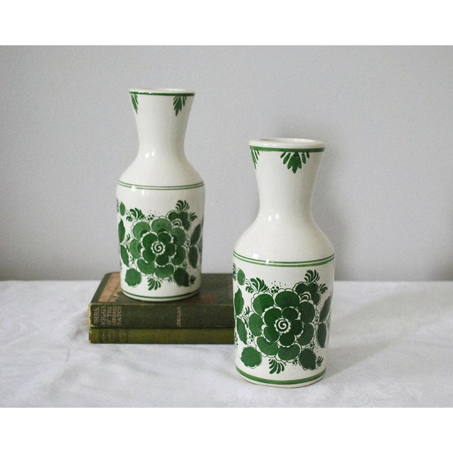 Cottage 1970s Shabby Chic Delft Green Carafes - a Pair For Sale - Image 3 of 9