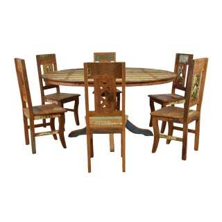 Reclaimed Wood 7 Piece Round Dining Set