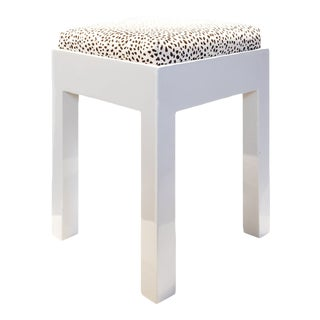 Aleksa White Lacquer Stool With Animal Print Cushion For Sale