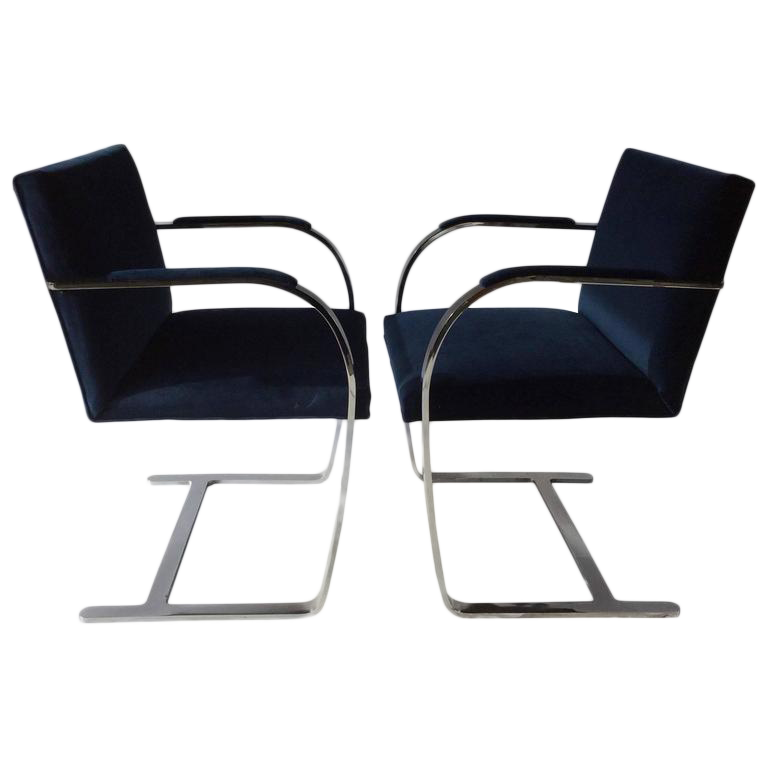 Mies Van Der Rohe BRNO Flat Bar Chrome Cantilevered Chairs For Sale