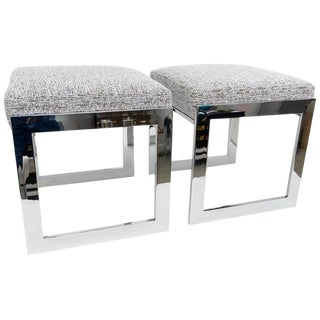 Milo Baughman Mid-Century Flat-Bar Nickel Plated Benches - a Pair For Sale