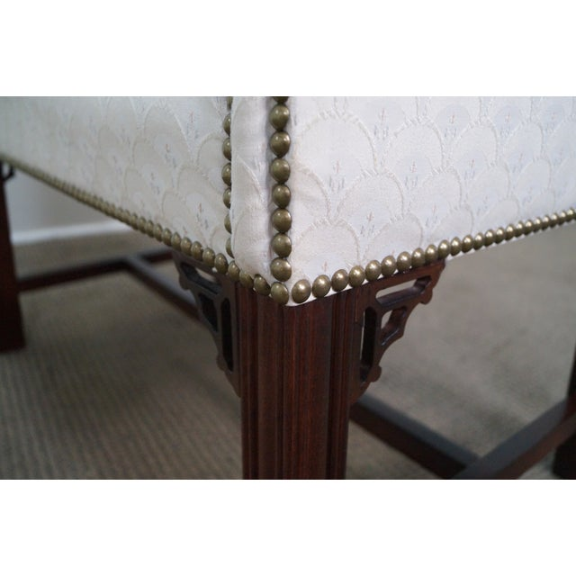 White Chippendale-Style Settee Bench For Sale - Image 8 of 8