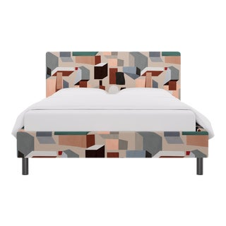 Queen Tailored Platform Bed in Sand Melio For Sale