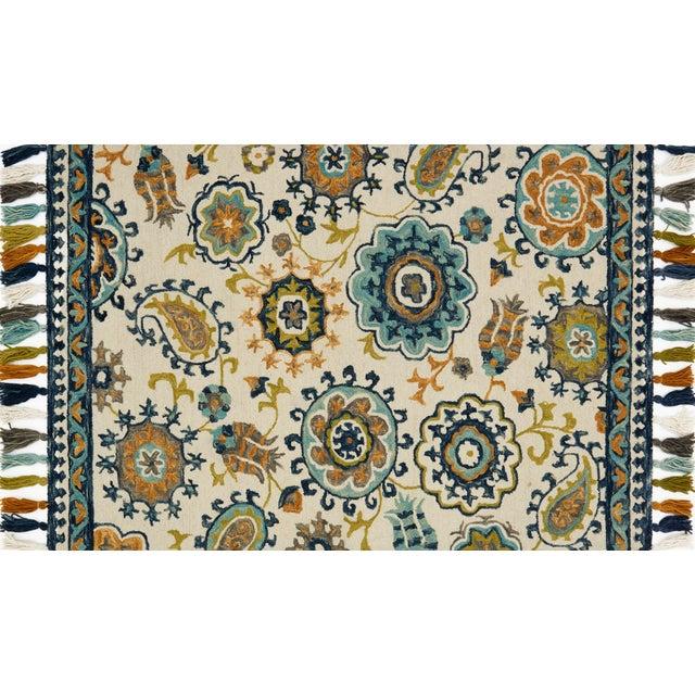 "Loloi Rugs Loloi Rugs Farrah Rug, Ivory / Blue - 1'6""x1'6"" For Sale - Image 4 of 4"