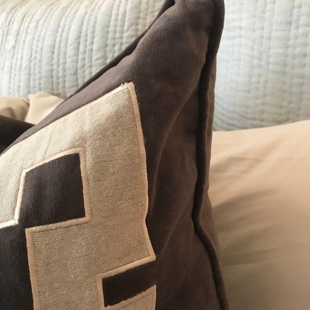 Gray Aegean Greek Key Square Velvet & Linen Pillow - A Pair - Image 2 of 5