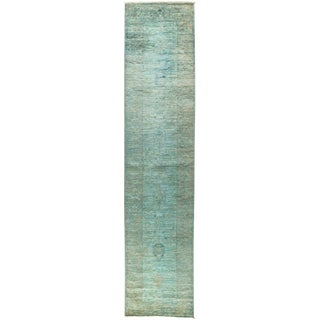 """Vibrance, Hand Knotted Art Nouveau Blue Wool Runner Rug - 2' 7"""" X 12' For Sale"""