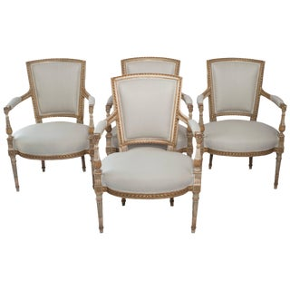 Set of Four Painted and Gilt Napoleon III Fauteuils For Sale