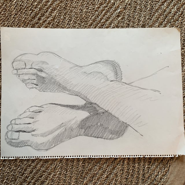 Artists study of feet and ankles- Can be oriented several ways. Has a classical feel to it.