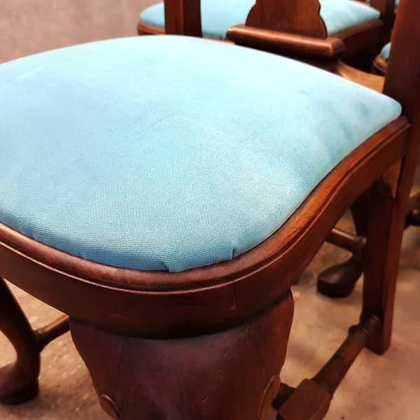 French Antique Chippendale Queen Anne Style Walnut Turquoise Blue Reupholstered Dining Chairs - Set of 6 For Sale - Image 4 of 13