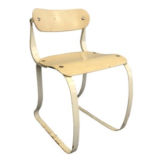 Vintage Off-White Steel & Wood Medical Chair by Herman Sperlich for Ironrite For Sale