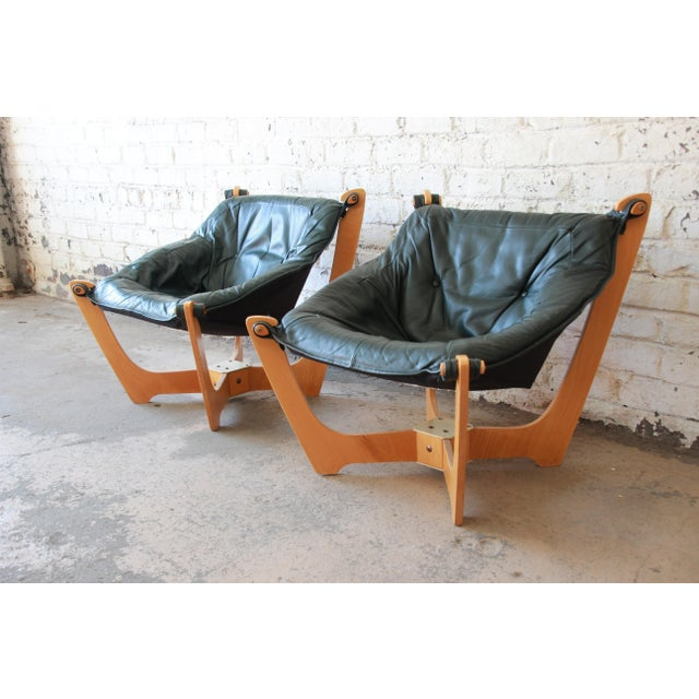 Odd Knutsen Teak Luna Chairs in Green Aniline Leather - a Pair For Sale - Image 4 of 12