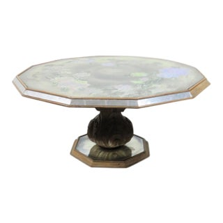 Eglomise Octoganal Mirrored & Painted Coffee Table For Sale