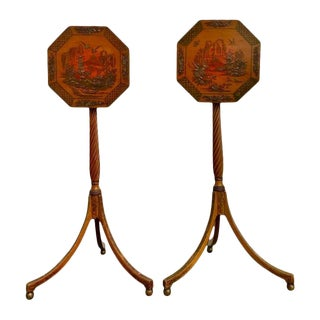 English Regency Red Lacquer Chinoiserie Candle Stands-a Pair For Sale