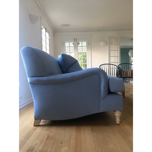 Traditional Modern Traditional English Roll Arm Sofa in Blue For Sale - Image 3 of 7