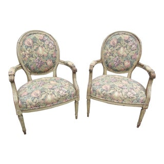 Antique French Slipper Chairs- a Pair For Sale