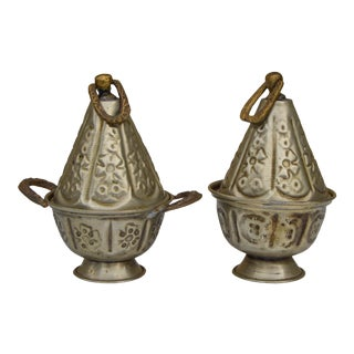 Antique Moroccan Lidded Bowls, S/2 For Sale