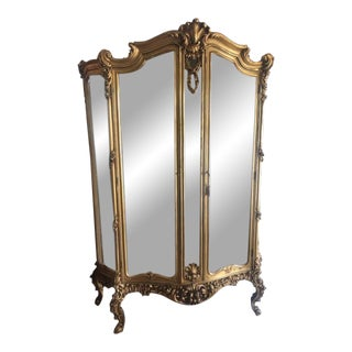 Late 19th Century Antique French Gilt Louis XV Style Display Cabinet For Sale
