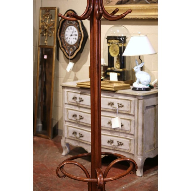 Early 20th Century Carved Bentwood Coat Stand With Umbrella Ring Thonet Style For Sale - Image 4 of 6