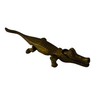 1970s Brass Alligator Nutcracker For Sale