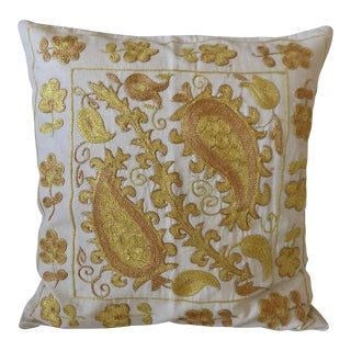 Modern Authentic Turkish Suzani Yellow Pillow Cover For Sale