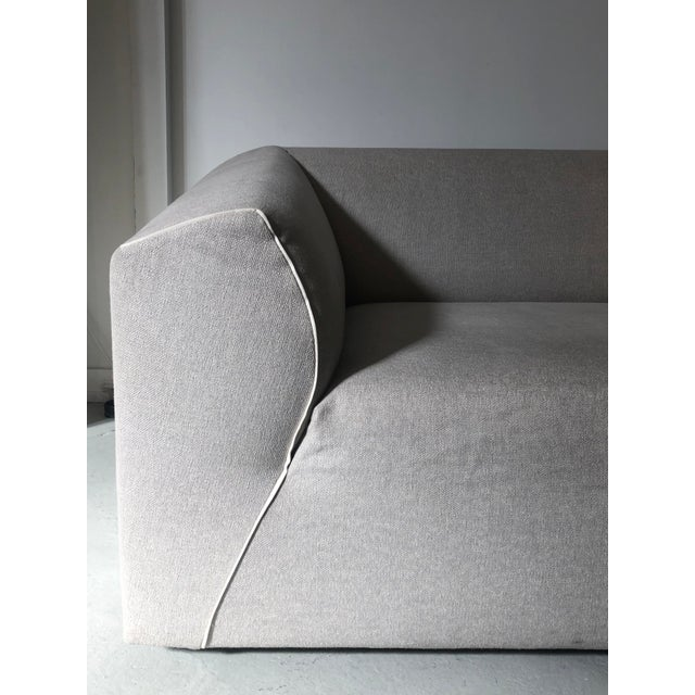 Contemporary Modern Modular Sofa and Ottoman Light Grey and White Piping by Mdf Italia For Sale - Image 3 of 12